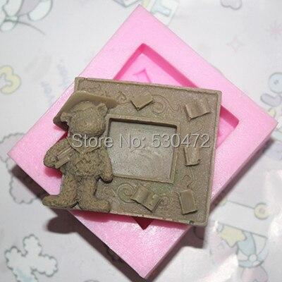 Опт/реталь, бесплатная доставка, 1 шт., медвежонок, глина, керамика, силиконовая форма для торта, мыльная форма, FM