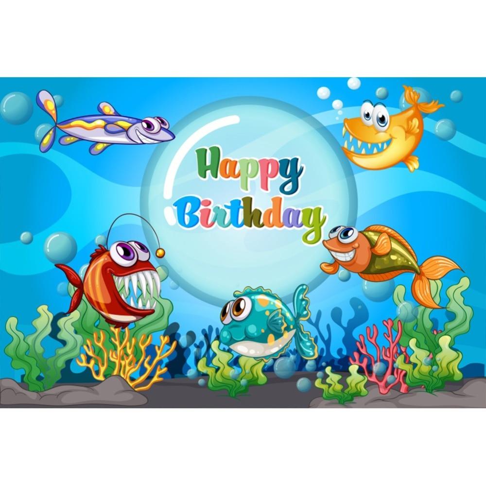 Laeacco Underwater Animals Baby Children Cartoon Happy Birthday Scene Photographic Backgrounds Photography Photo Backdrop Studio