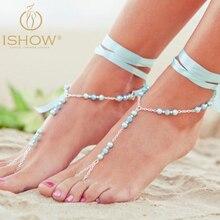 Новый стиль браслеты ювелирные изделия Сексуальная Лента бисер лодыжки ноги пляжа ювелирные изделия подножия ювелирные изделия босиком сандалии cavigliera