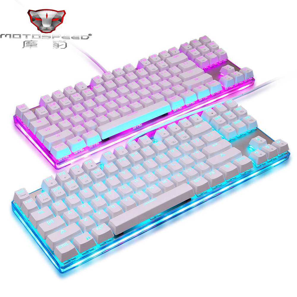 Original Motospeed K87S Mechanical Keyboard RGB Backlight USB Wired Blue/Red Switches Gaming Keyboard with 87 Keys for Gaming landas usb wired mechanical keyboard for gamer led cool backlight keyboard game gaming with blue switches for windows xp 7 8 10