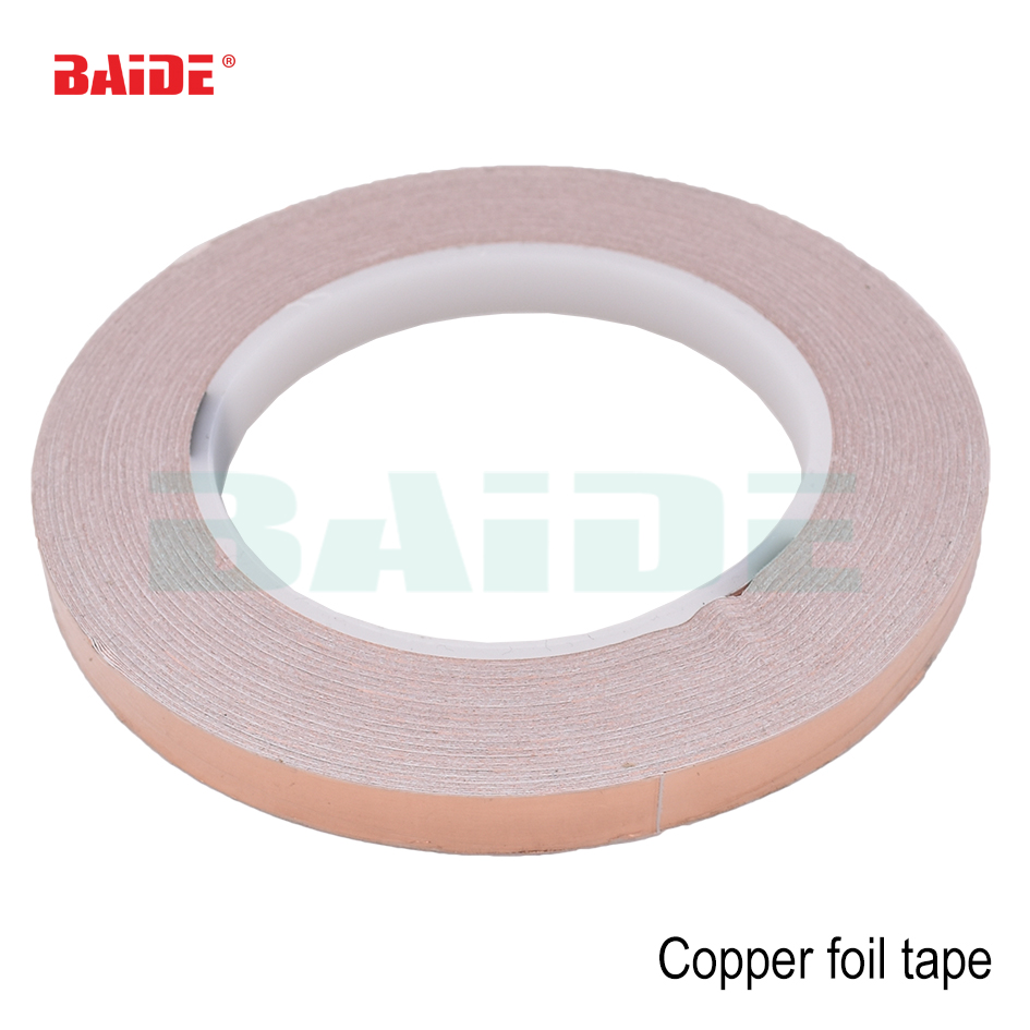 30-60mm * 50m (0,05mm de espesor) cinta de cobre lámina de un lado EMI blindaje guitarra Slug Snail Barrier Single Conductive Copper Foil