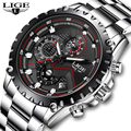 Бренд lige мужские модные часы мужские спортивные водонепроницаемые кварцевые часы мужские полностью стальные военные часы наручные часы ...