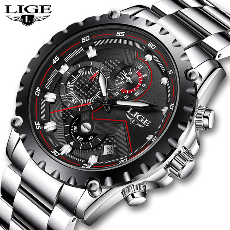 LIGE Brand Men's Fashion Watches Men Sport Waterproof Quartz Watch Man Full Steel Military Clock Wrist Watches Relogio Masculino