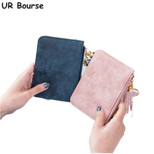 UR BOURSE Womens Short Card Holder Girls Pu Leather Mini Wallet Ladies Coin Purse Female Credit Package Multi-card
