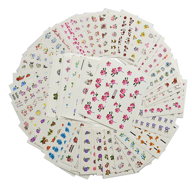 48 Sheets Sweet Nail Art Flower Designs Water Transfer Mixed Nail Stickers Decal Manicure Decoration Beauty Nail Tool LAA289-336