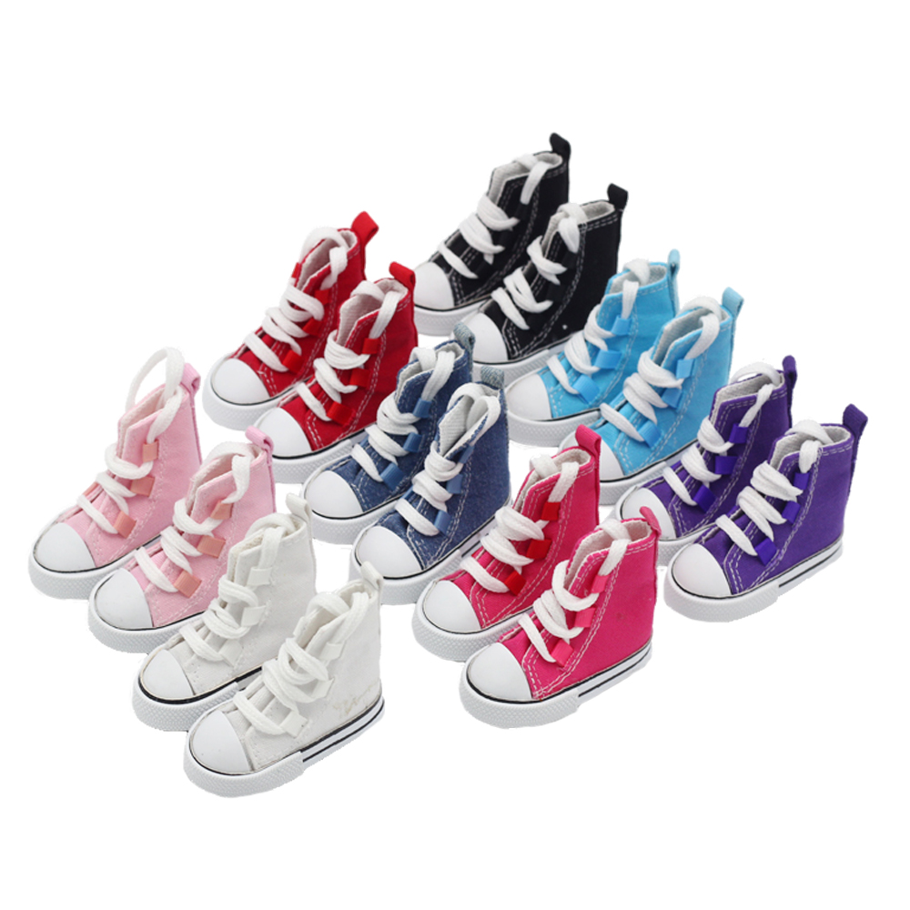 1Pair Canvas Sneaker Shoes Fashion Mini Toy Shoes For 60cm 1/3 Bjd Doll Sneakers Shoes Fit 16inch Sharon Dolls Accessories