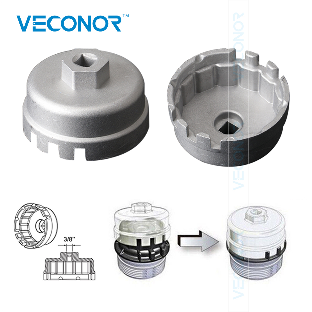 VECONOR Aluminum Cup Wrench Oil Filter Wrench Cap Housing Tool Remover 14 Flutes Universal For Lexus/Toyota