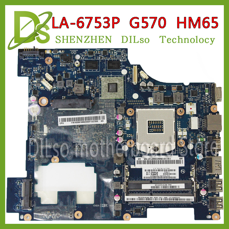 KEFU LA-6753P laptop motherboard for Lenovo G570 Laptop motherboard LA-6753P motherboard HM65 with HDMI interface 100% tested for lenovo laptop motherboard g570 piwg2 la 6753p hm65 ddr3 pga989 mainboard