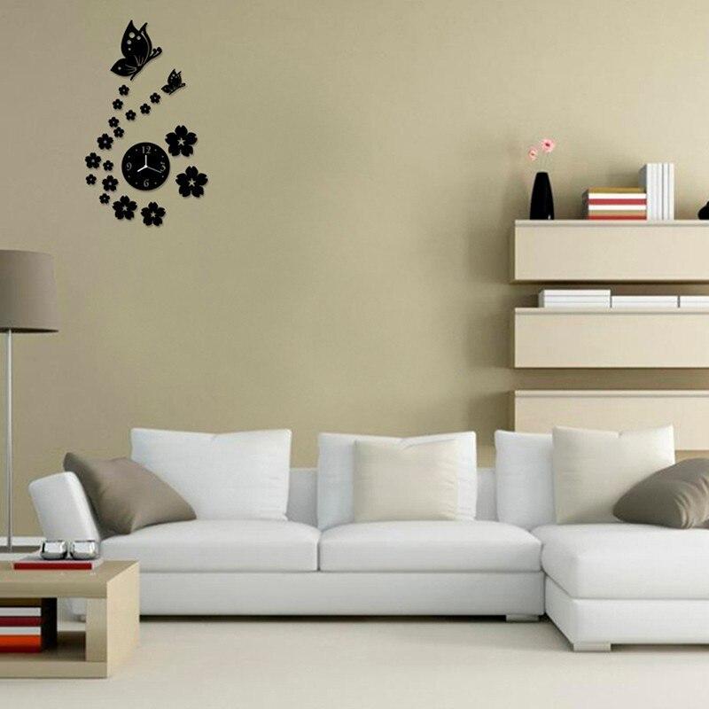 hotsale d moderna flor de mariposa diy reloj de espejo de la pared de papel etiqueta