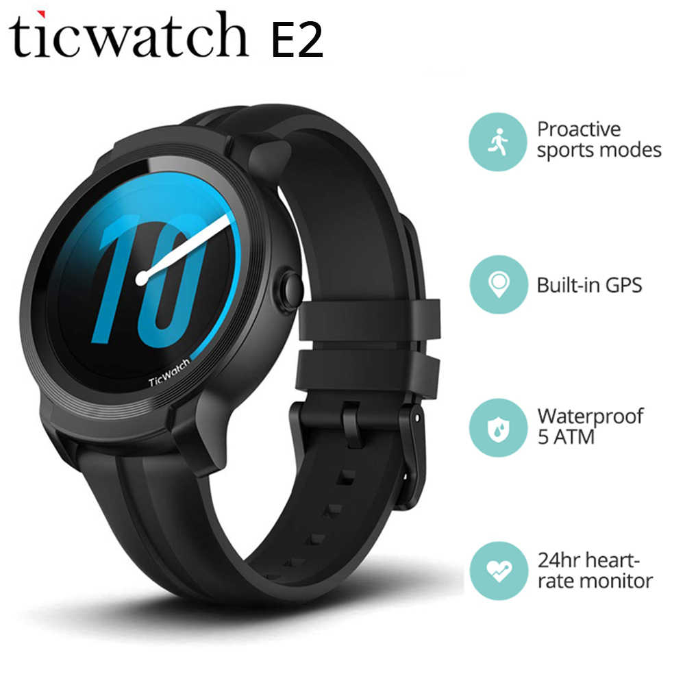 Ticwatch E2 Smart Watch Men Strava GPS Smart Wristwatch Wear OS by Google 5 ATM Waterproof 2 Days Battery Life Fitness Tracker