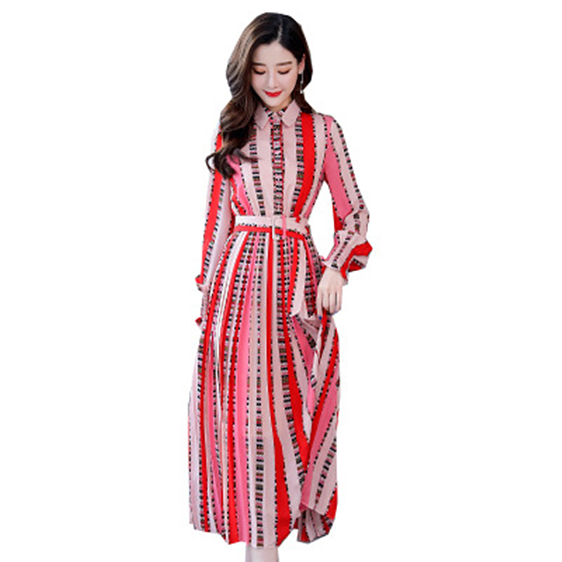 2019 spring new temperament long-sleeved printed belt long dress Slim waist fashion womens clothing