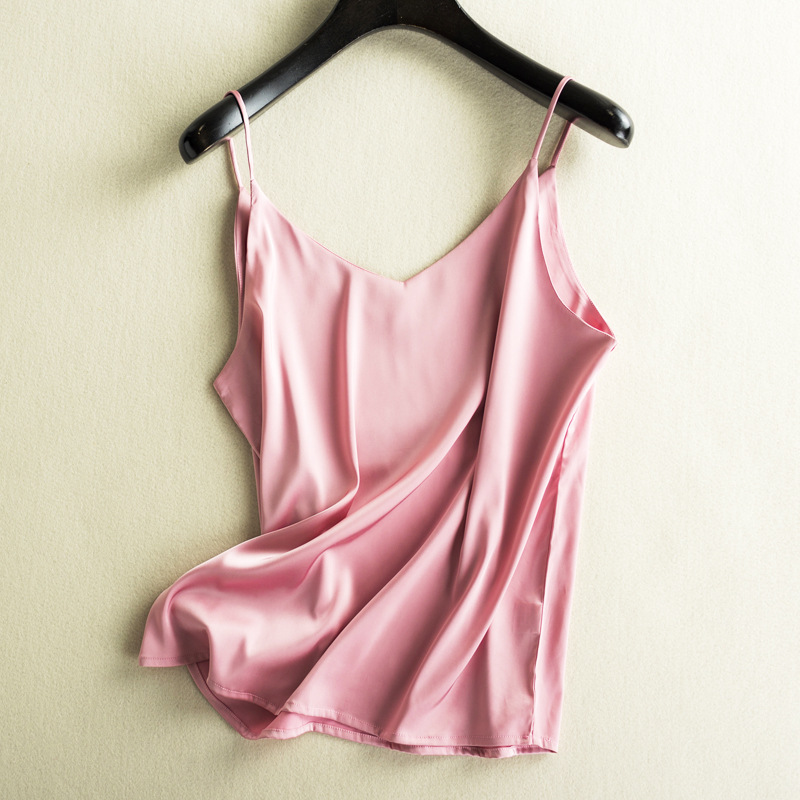 Women Sexy Top 2019 Summer Femme Vest Silk Camisole Satin Bottoming Women Vest V neck Slim Fit All match Style Feminino V in Camis from Women 39 s Clothing