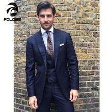 FOLOBE Ternos Masculino Custom Made Navy Handsome Dress Suits Men 3 Piece Suits Jacket Tuxedos Groom