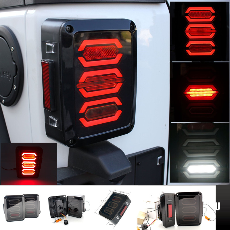 For Jeep Tail Lights Assembly Back Up Brake Reverse Turn Signal Lamp Rear Parking Stop Daytime Running Lights DRL Lamp Wrangler car styling tail lights for toyota highlander 2015 led tail lamp rear trunk lamp cover drl signal brake reverse