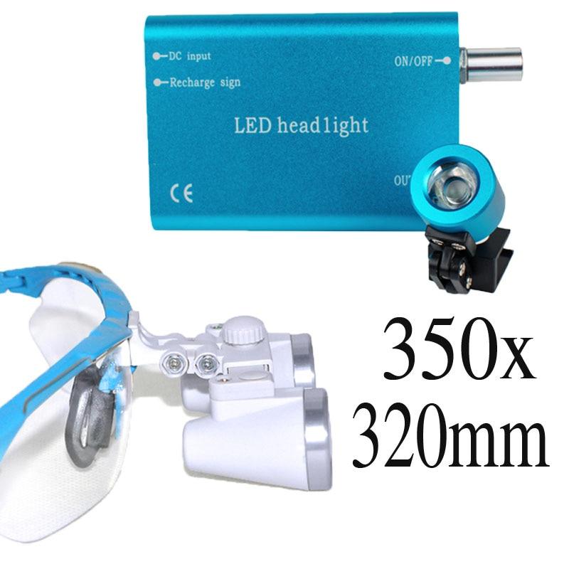 Popular Portable blue LED headlight lamp and 3 5x320mm Dentist Dental Loupes binocular