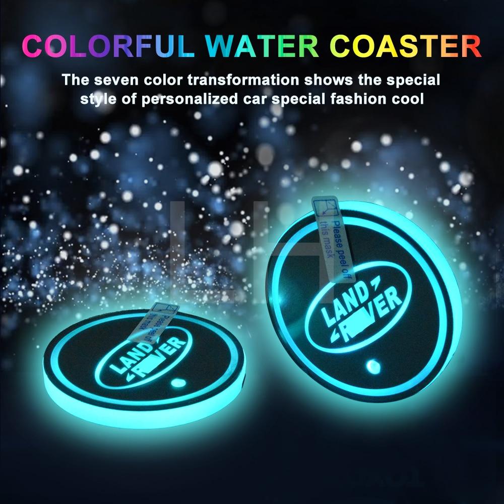 2 pieces/lot LED DESIGN Cup Coaster Slot Pad R Design Mat Protective Pad PVC for LANDROVER|Anti-Slip Mat| |  - title=