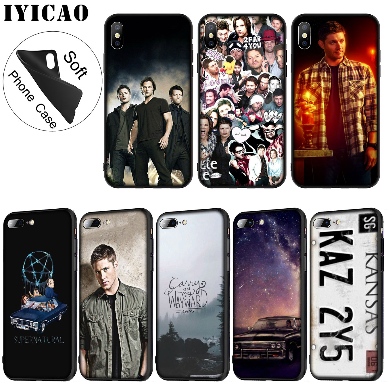 IYICAO Supernatural Jared Padalecki Soft Silicone Phone Case for iPhone XR X XS 11 Pro Max 6 6S 7 8 Plus 5 5S SE 10 Black Cover image