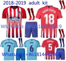 Top Thai mejor calidad Jersey manga corta adulto kit 18 19 Atleticoes  Madrides casa rojo Negro hombres camiseta personalizada gr. 8b9a27b9326ad