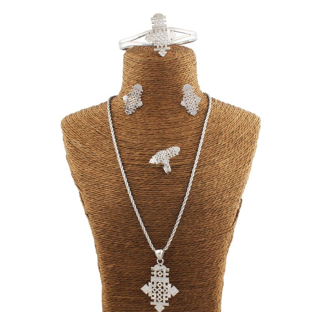 Adixyn Ethiopian Cross Necklace/Pendant/Bangle/Earring/Ring Set Jewelry Habesha Jewelry Coptic African Bride Ethiopia gift