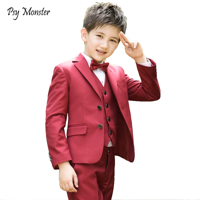 High quality Kids boys blazers children formal suits student performance piano costume suit vest shirt sets for boy 5pcs F121 цена 2017