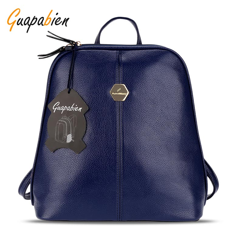 Guapabien Sweet Beauty Style Bag PU Leather Women Shell Solid Color Zipper School Bag For Teenager