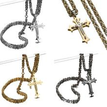 Cool Cross Necklace For Men Byzantine Gold Silver Stainless Steel Chain Catholic Crucifix Pendant Male Punk Rock Ornaments