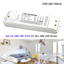 LTECH CC 0/1-10 V LED Driver; AD-25-180-700-F1P1; AC100-240V de entrada; saída 3-54VDC 25 W 180-700mA 0/1-10 V levou escurecimento motorista