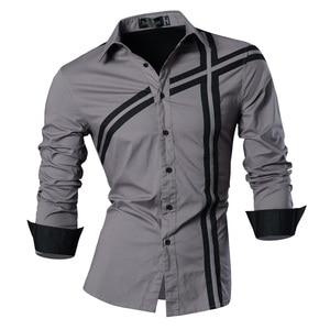 Image 3 - Мужская джинсовая рубашка, повседневная приталенная рубашка с длинным рукавом, весна осень, Z006