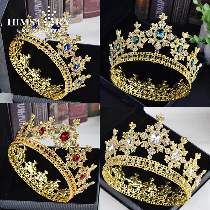HIMSTORY Luxury Crystal Crown Tiara Rhinestones Royal Queen Princess Pageant Crwon Bridesmaids Round Wedding Hair Accessories vintage gold round crystal tiara baroque rhinestones princess queen crown for bride hair accessories wedding crown hair jewelry