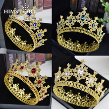 HIMSTORY Luxury Crystal Crown Tiara Rhinestones Royal Queen Princess Pageant Crwon Bridesmaids Round Wedding Hair Accessories