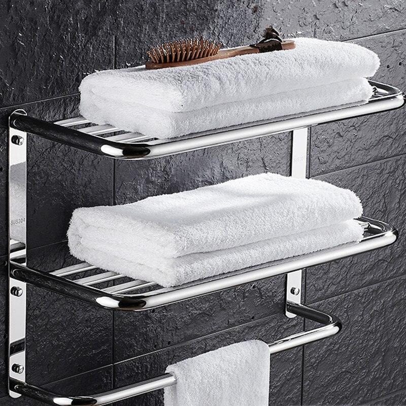 Sus 304 étagère de salle de bain en acier inoxydable 3 couches carré pour cosmétique et shapoo salle de bain porte-serviettes cintre multi-usage ensemble de salle de bain