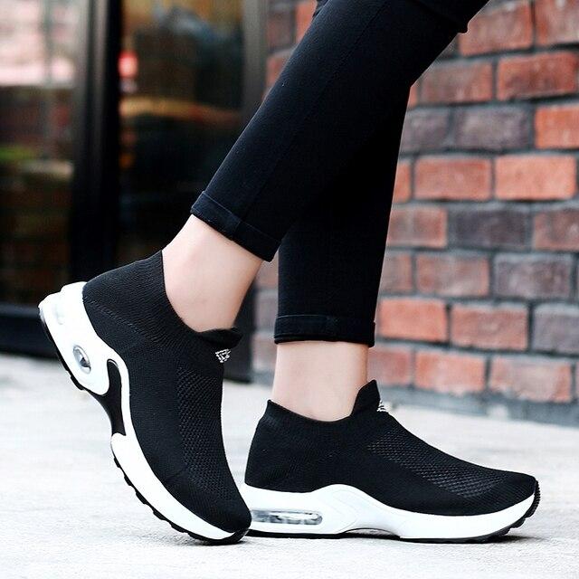 2019 Kadın Sneakers Yaz Hava sönümleme spor ayakkabılar Kadın Çorap koşu ayakkabıları Kadınlar açık Bot Yürüyüş Atletik zapatos de mujer