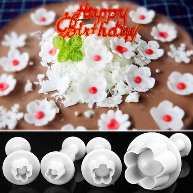 4Pcs/Set Plum Blossom Flower Plunger Fondant Cutter Sugarcraft Cake Decorating Tools DIY Cookie Stamper Baking Accessories