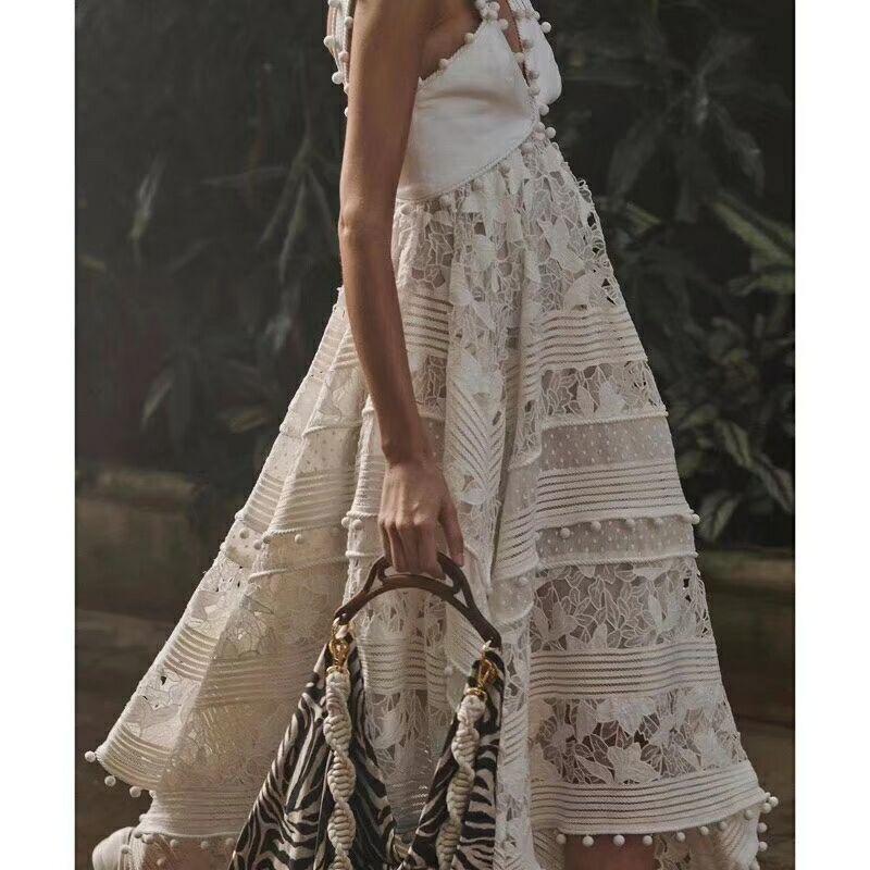 Ordifree 2019 luxe été Boho Maxi robes pour femmes Sexy sans manches blanc dentelle longue tunique plage robe de haute qualité