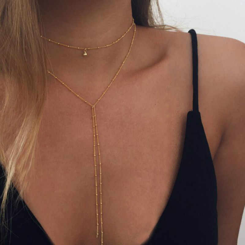 Gold color Choker Necklace for women Long Beads Tassel Pendant Chain Necklaces & Pendants Laces velvet chokers Fashion Jewelry