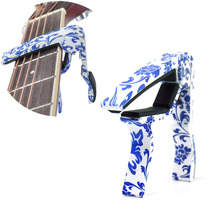 Guitar Capo Quick Change for 6-String Guitars Blue and White Chinese Pattern