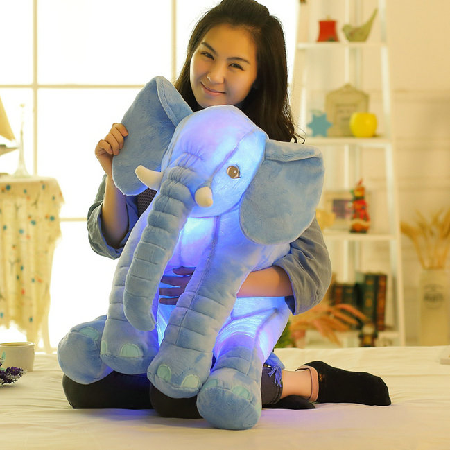 Drop shipping Led Infant Soft Appease be luminous Elephant Playmate Calm Doll Baby Toys Elephant Pillow Plush Toys free shipping bookfong drop shipping 40cm infant soft appease elephant pillow baby sleep toys room decoration plush toys for kids
