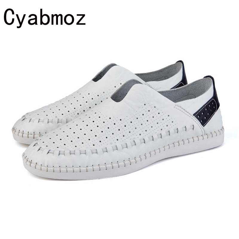 Cyabmoz Men Loafers 2017 Casual Boat Shoes Fashion Leather Slip On Driving Shoes Moccasins Hollow Cut-Outs Men Flats Oxfords cyabmoz 2017 flats new arrival brand casual shoes men genuine leather loafers shoes comfortable handmade moccasins shoes oxfords