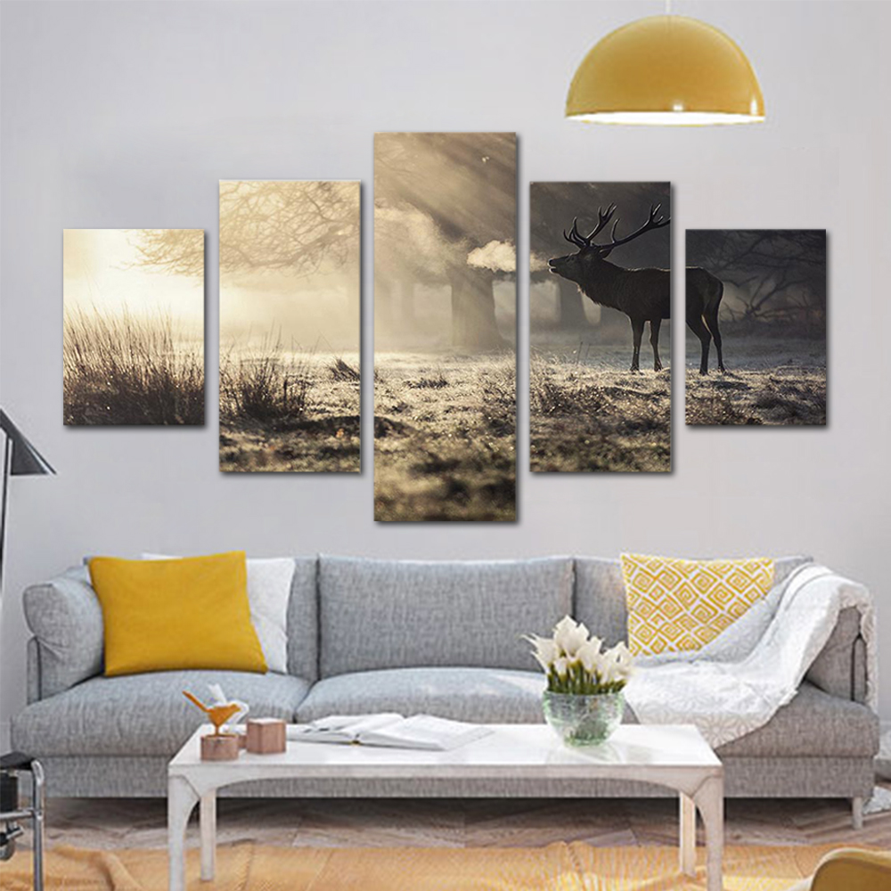 Unframed HD Print 5 Canvas Art Paintings Early Morning Elk Canvas Mural Living Room Decoration Picture Free Shipping
