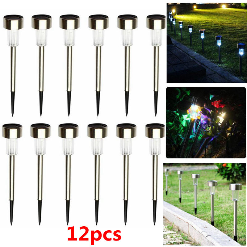 12pcs LED Solar Light Waterproof Outdoor Garden Pathway LED Solar Powered Lights Street Landscape Yard Lawn Lamp Decoration 12pcs solar light led solar lawn lamp for garden decoration outdoor waterproof led lawn lights street landscape yard lamp