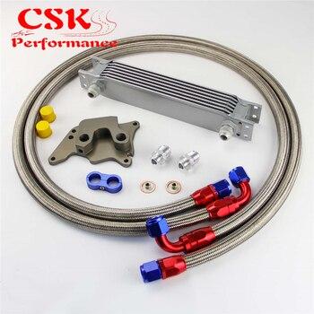 7 Baris 248mm Inggris AN10 Oil Cooler Kit Cocok Untuk BMW Mini Cooper R56 Supercharger Hitam/Perak
