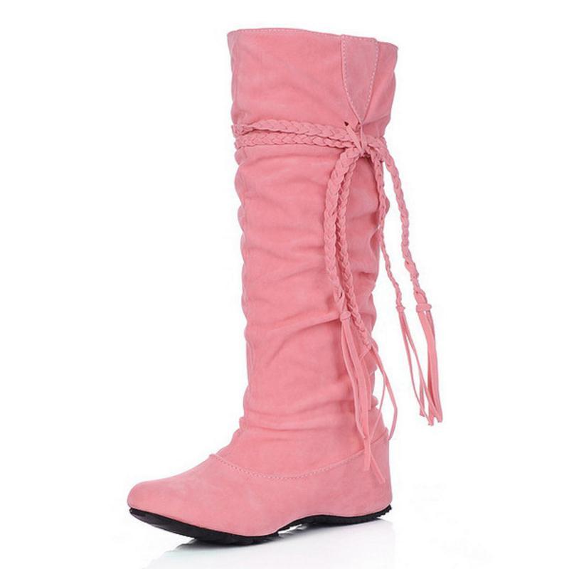 KemeKiss женская обувь на плоской подошве пикантные сапоги зимние теплые сапоги Качественная и модная обувь; теплая обувь; botas feminina P8396 размер 34-43 - Цвет: Розовый