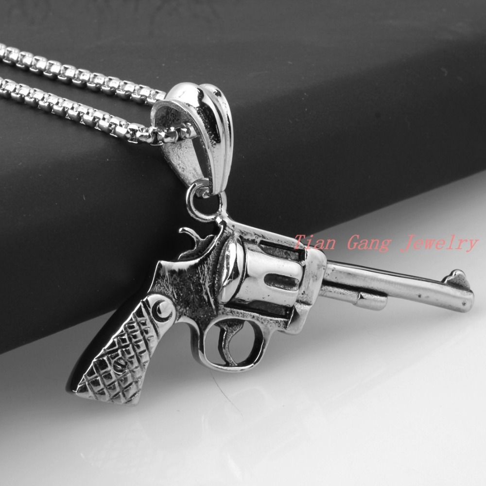 Новые симпатичные стильные Винтаж Серебряный тон ковбой пистолет кулон Револьвер пистолет в форме Цепочки и ожерелья Новинка подарки для Д...