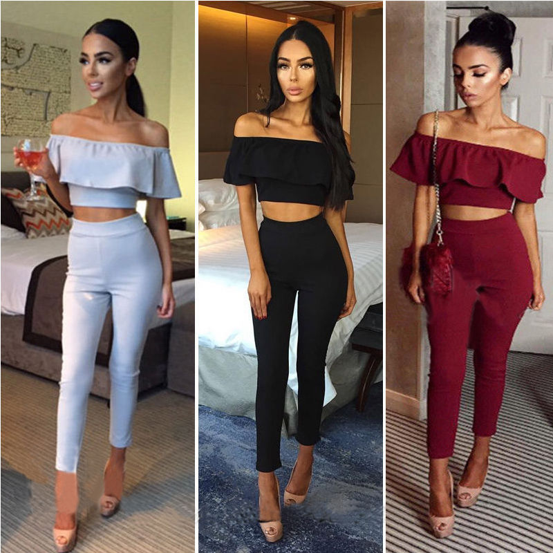 New Fashion Women Clothing Short Sleeve Crop Top Blouse + Long Pants Two-piece Playsuit Outfit Clothes Set