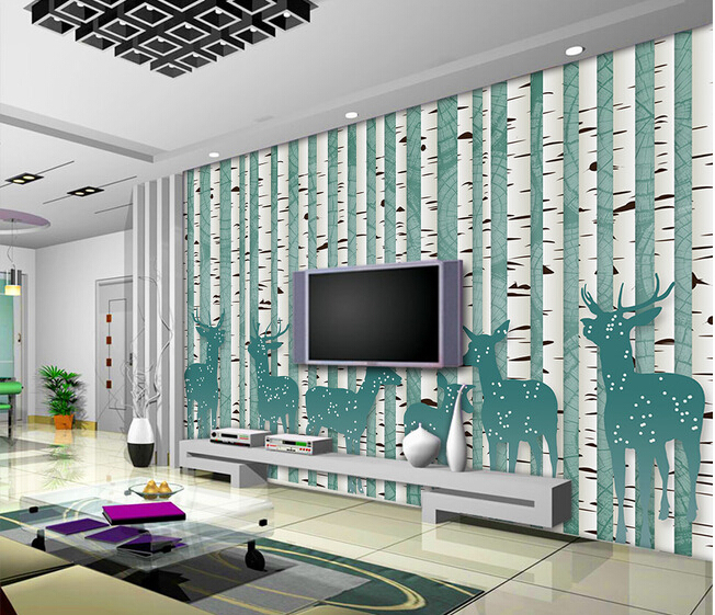 The custom 3D murals,3 d retro abstract painted cartoon tree elk ,living room sofa TV wall bedroom wall paper the custom 3d murals the new york times center building street black and white living room sofa tv wall bedroom wall paper