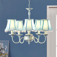 Modern style 5 heads chandeliers living room sky blue resin soft lighting features pastoral relief flowers lamps ZA9914