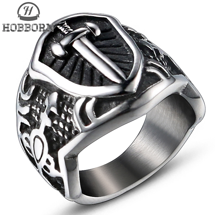 HOBBORN Classic Men Cross Rings Titanium Steel High Polished Unique Old Creative Sword Pattern Mens Ring Finger Party Jewelry