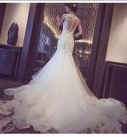 Пикантные плечо кружевное платье с цветочным рисунком свадебное платье Новинка 2017 года назад любовь Дизайн рыбий хвост свадебное платье не