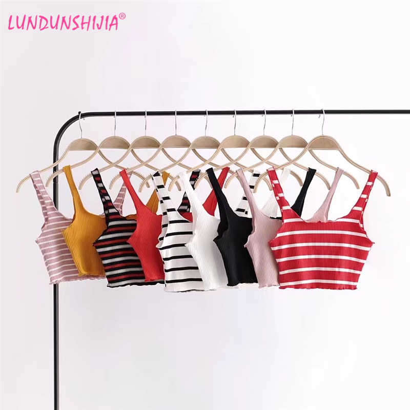 LUNDUNSHIJIA 2018 Summer Fashin Sexy Short Top Women Sleeveless Tank Tops Crop Tops Slim Vest Tube Tops 9 Colors