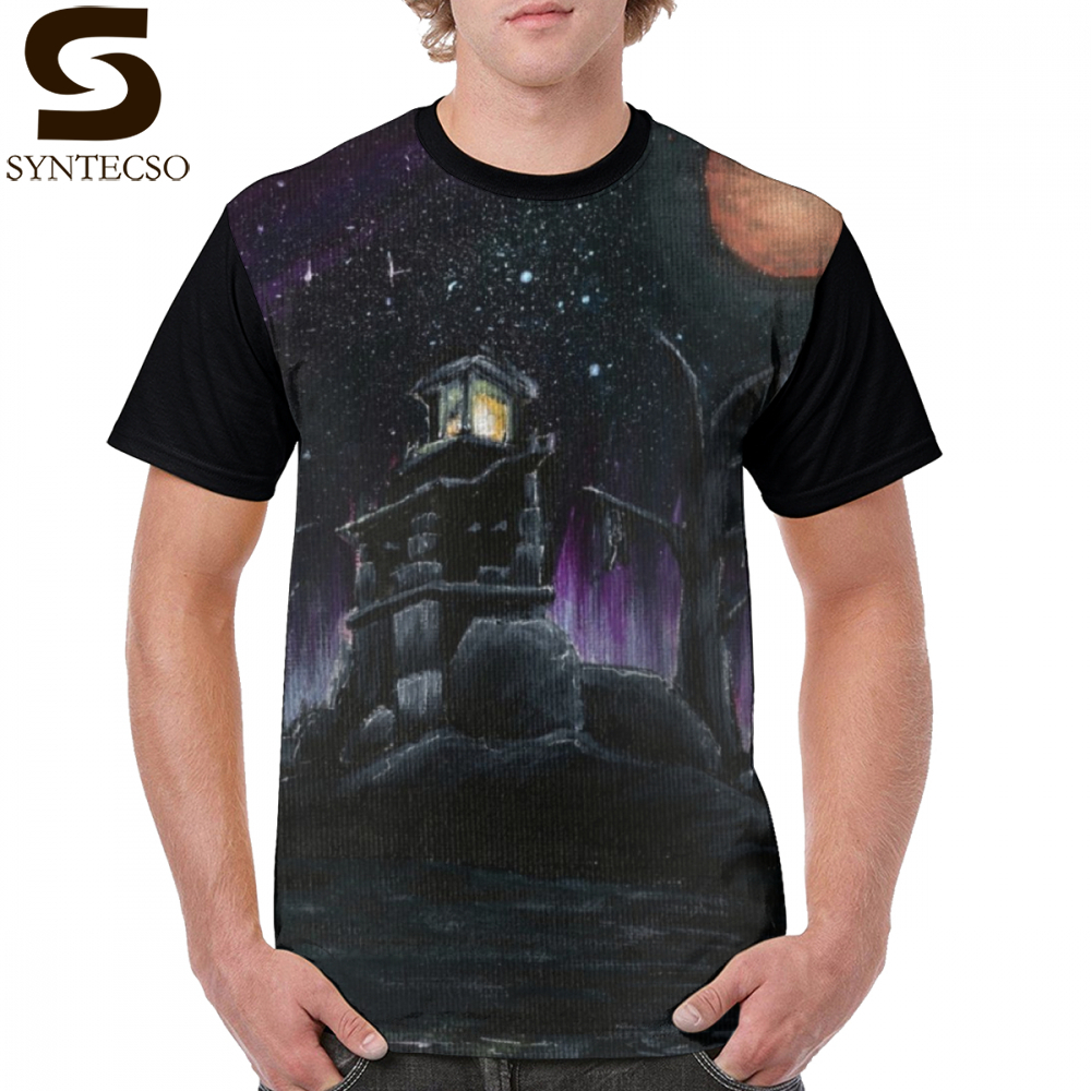 Morrowind T Shirt Seyda Neen Lighthouse T-Shirt Short Sleeve Plus Size Graphic Tee Shirt Men Polyester Cute Basic Print Tshirt